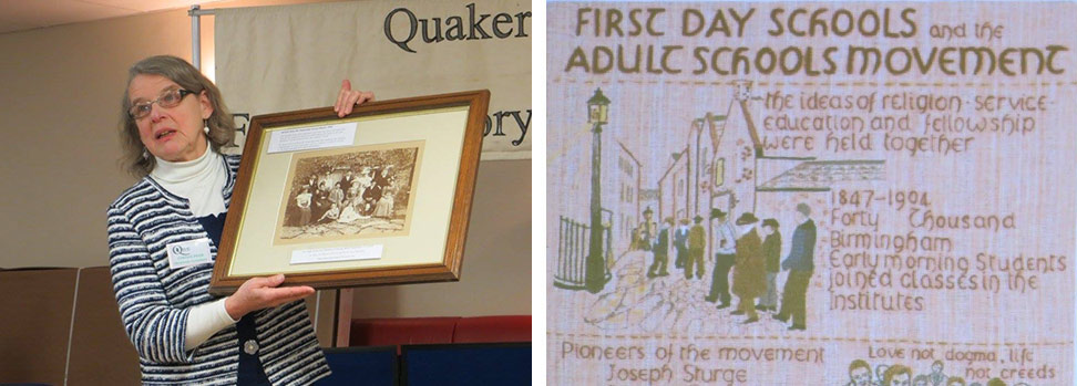 Cynthia Prior, grand daughter of a Leominster Orphan; Part of the Quaker tapestry