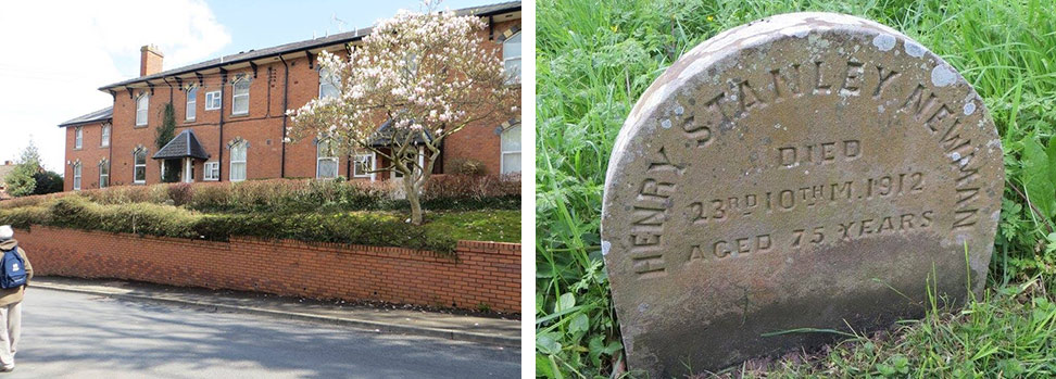 The original site of the Orphans home and the grave of Henry Stanley Newman